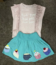 Mini Boden And Next Set, Girls Age 9-10, Cupcake Skirt And Tassle Top, Free P&P