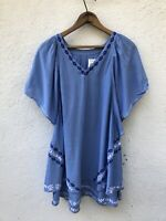Maternity Top Medium Blue Peasant Embroidered Boho Short Slit Sleeve Vneck