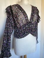 Brand New Zara Large Purple Ditsy Floral Ruffle Sheer Cottagecore Boho Blouse