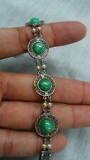 Beautiful vtg. art deco  Wells   sterling 925 green peking glass pearl bracelet