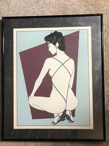 🌟PATRICK NAGEL Vintage 1985 Poster Art Framed Print PLAYBOY PORTFOLIO Signed