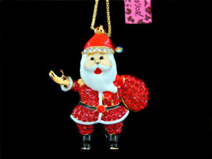 Betsey Johnson Lovely Red Crystal Father Christmas Pendant Long Chain Necklace