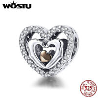 Wostu 925 Sterling Silver Heart Pendant Rose Gold Plated Charm Bead CZ Xmas Gift