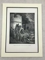 Jerusalem City Ruins Old  Hebrew Jewish Bible Antique Engraving Print 1870