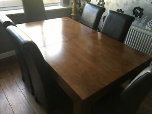 Next Solid Mango Wood Dining Table And 6 Chairs Extending