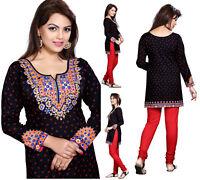 Top Printed Women Fashion Indian Short Black Kurti Tunic Kurta Shirt Dress 127C