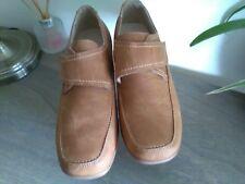 Ladies, size 4. Dr Keller beige suede loafers. Velcro touch strap. Wedge heel.