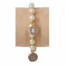 St. Benedict Bracelet with Medal Dangles - Ivory (B2076) NEW