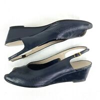Ferragamo Womens 5M  Navy Blue Leather Peep Toe Wedges Sling Back Italy h6