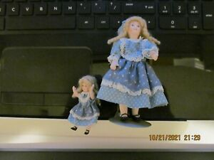 DOLLHOUSE MINI ONE INCH SCALE BEAUTIFUL MOTHER & DAUGHTER DOLLS