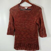 Chicos Size 0 Size S Small Sweater Pullover Crew Neck Loose Knit 3/4 Sleeve Rust