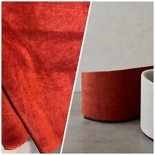 NEW! Designer Soft Heavy Weight Cotton Velvet Fabric -Burnt Red - Upholstery BTY