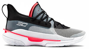 Under Armour Stephen Curry 7 Men's Sz 10 UNDRTD White Black Red Underrated Shoes