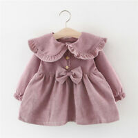 Toddler Baby Kids Girls Winter Long Sleeve Ruffles Bowtie Dress Casual Clothes