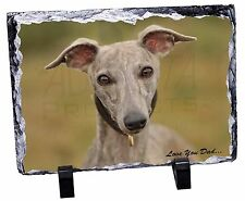 Whippet Dog 'Love You Dad' Photo Slate Christmas Gift Ornament, DAD-135SL