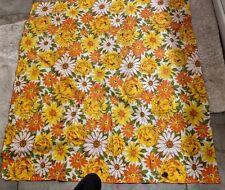 Vintage Seventies Floral Printed Linen Tablecloth Retro