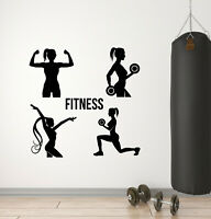 Vinyl Wall Decal Gym Fitness Girls Health Exercise Sport Decor Stickers (g1649)