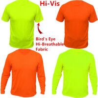 Safety Work Hi Vis High Visibility T Shirt Non ANSI Short Long Sleeve Neon Shirt