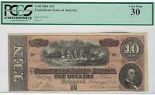 T-68 Pf-20 1864 $10 Confederate Paper Money - Pcgs-C Very Fine 30!