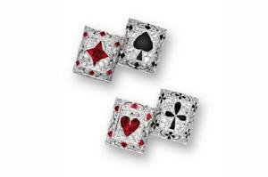 2CT Ruby, Onyx & Cubic Zirconia In 925 Silver Men's Elegant 'POKER' Cuff Links