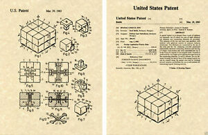 Cube de Rubik Verni Art Imprimé Prêt À Cadre Vintage 1983 Erno Rubik's Cube Toy