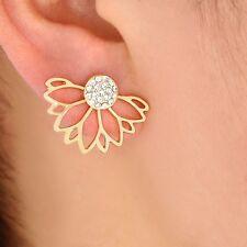 Lotus Flower Crystal Rhinestone 2 Piece Gold Tone Stud Earrings Multi Wear