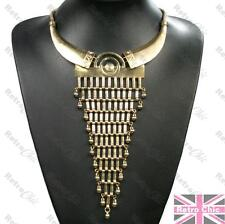 AZTEC tribal LONG TRIANGLE COLLAR fringe NECKLACE choker VINTAGE GOLD/BRASS mesh
