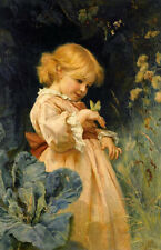 Art Oil painting Frederick Morgan - Little girl & insect The butterfly in view