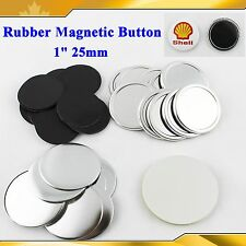 "Diy 1"" 25mm 200sets Rubber Magnetic Badge Button Parts Maker Freezer Sticker"