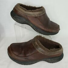 Merrell Size 11 Encore Chill Slide Men's Brown Leather 66077 Shearling Lined
