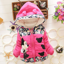 Baby Kids Girl Cartoon Mickey Hooded Winter Warm Coat Jacket Outerwear Snowsuits