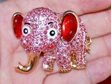Lucky Pink Rhinestone Elephant Pin Broach Golden Totem Necklace Spirit Animal