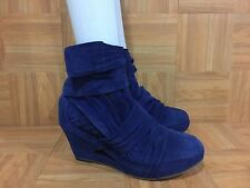 $695❤️ LD Tuttle Platform Ankle Boots Blue Suede Wrap Around Sz 41/11