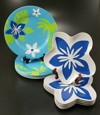 Melamine Plates 12 Pieces Pool Outdoor Tropical Hibiscus Dinner and Salad