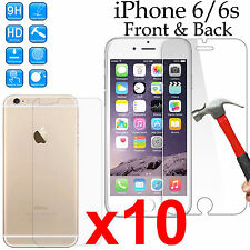x10 Tempered Glass 9H screen protector Apple iPhone 6 6s Front + Back