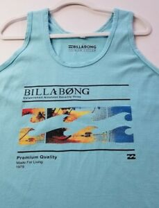 Billabong Women's Graphic Tank Top XXL 2XL Blue Scoopneck Logo Spellout Cotton