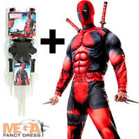 Deluxe Deadpool + Weapon Kit Mens Fancy Dress Comic Superhero Adults Costume