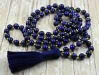 Natural lapis lazuli stone beads 8 mm mala  108 men yoga meditation necklace