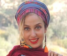 Lovely Blue Ethnic Sinar Tichel, Hair Snood, Head Scarf, jewish Head Covering