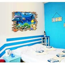 Dolphin 3d Sea Ocean Vinyl Decal Kid Room Home Decor Art Wall Stickers DIY AT