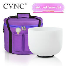 CVNC 8 inch E Note Solar Plexus Chakra Crystal Singing Bowl with Carry Case