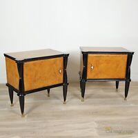 Coppia di comodini antichi in legno comodino Vintage anni '50 60 radica chiari