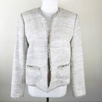 L'agence Tweed Silk Blend Jacket Office Work Wear Beige Tan Size 10