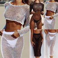 Womens Crochet Fishnet Mesh Swimwear Summer Beach Dress Sheer Bikini Cover Up