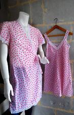 Ensemble chemise de nuit peignoir vintage tissu liberty rose et blanc T. S