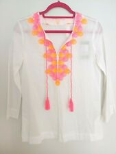 Lilly Pulizter Amelia Island Tunic Resort White Embroidery Seashells Sz XS $138