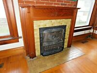 1890's Antique FIREPLACE MANTEL Surround Curved Top VICTORIAN Style Oak ORNATE