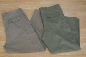 Boulder Creek Men's Elastic Waist Green and Brown Cargo Pants 48x31 Lot of 2