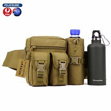 Tactical Waist Pack Pouch With Water Bottle Pocket Holder Waterproof Molle Fanny