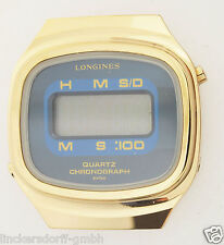 LONGINES QUARTZ CHRONOGRAPH - VERGOLDETE DIGITALUHR - 1970er JAHRE - WERK DEFEKT